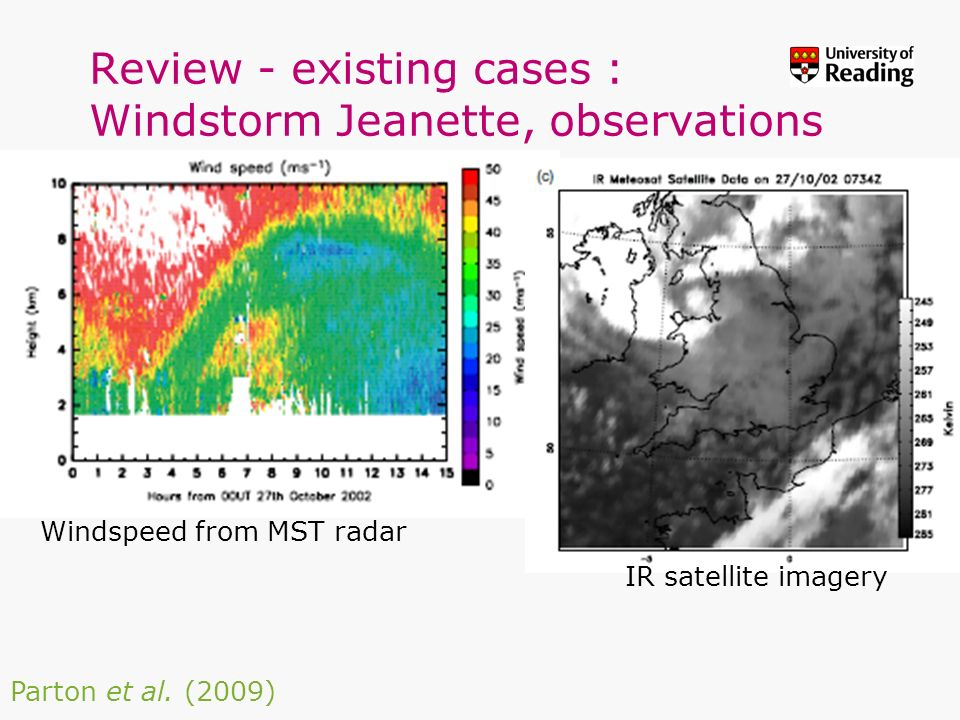 Review - existing cases : Windstorm Jeanette, observations