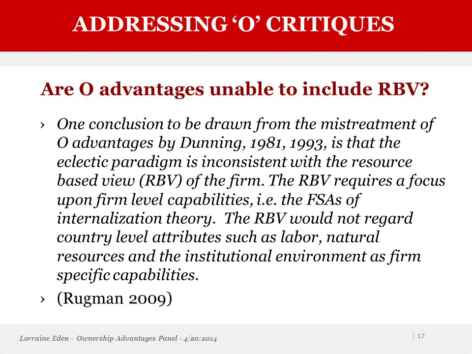 Are O advantages unable to include RBV