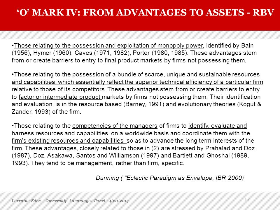 'O' mark IV: From advantages to assets - rbv