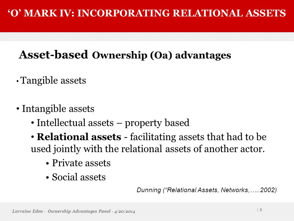 'O' mark IV: incorporating relational assets