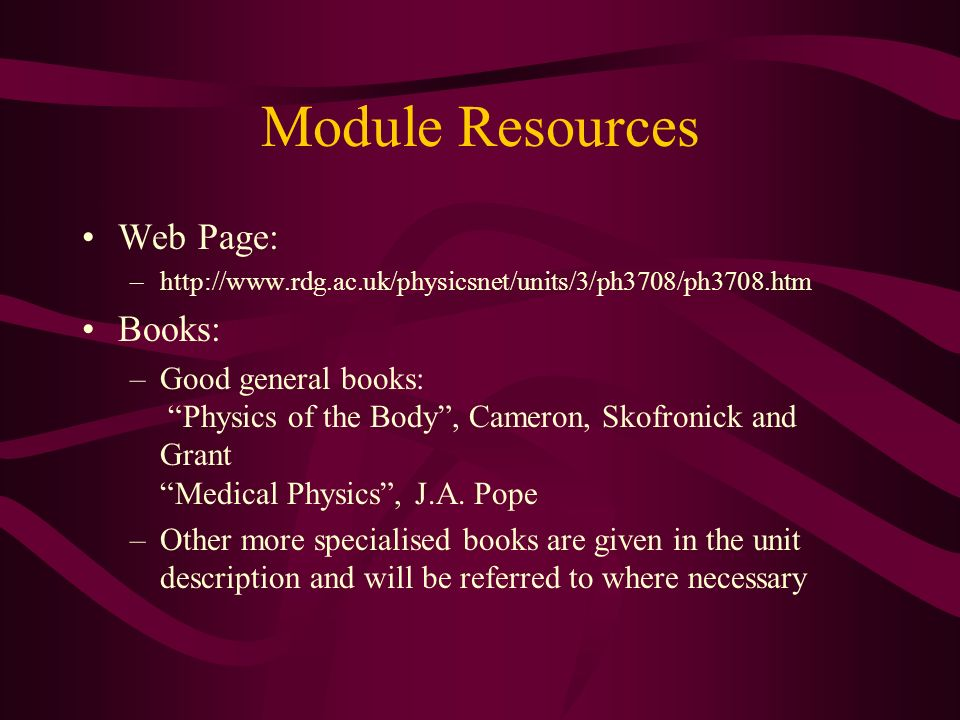 Module Resources Web Page: Books: