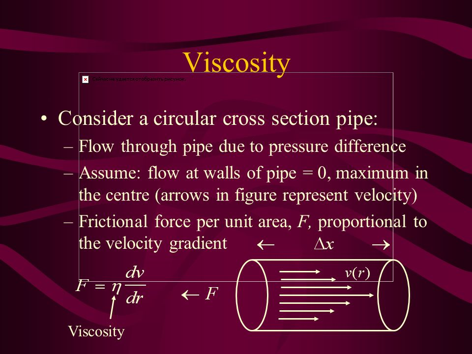 Viscosity Consider a circular cross section pipe: