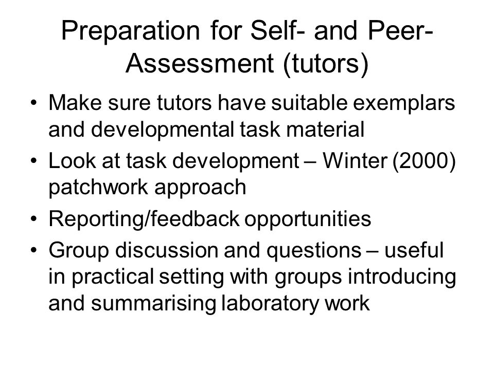 Preparation for Self- and Peer-Assessment (tutors)