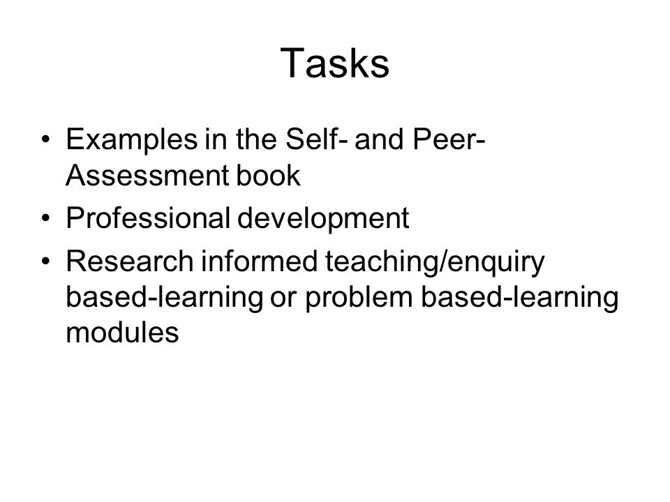 Tasks Examples in the Self- and Peer-Assessment book