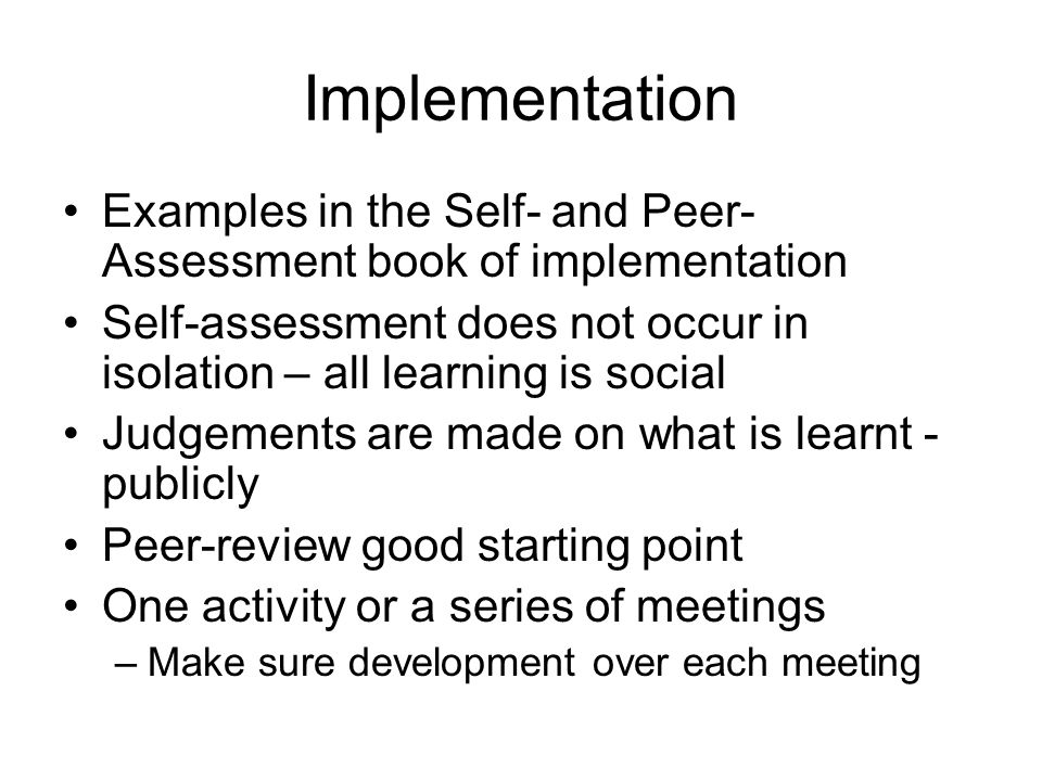 Implementation Examples in the Self- and Peer-Assessment book of implementation.