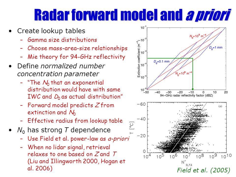 Radar forward model and a priori