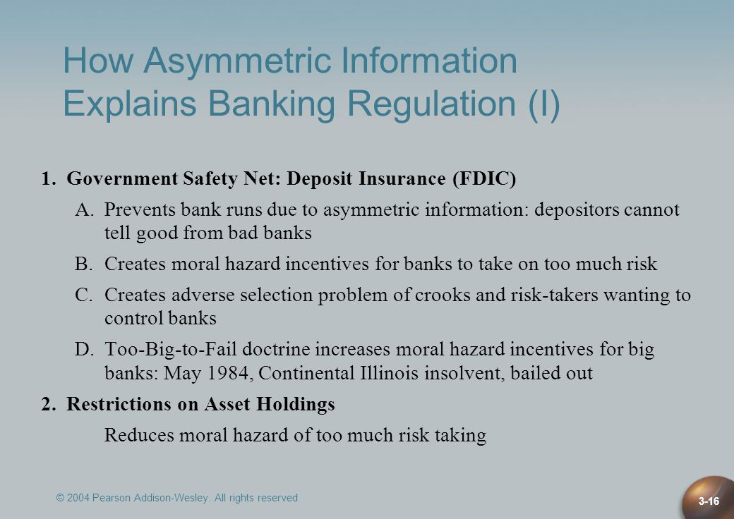 How Asymmetric Information Explains Banking Regulation (I)