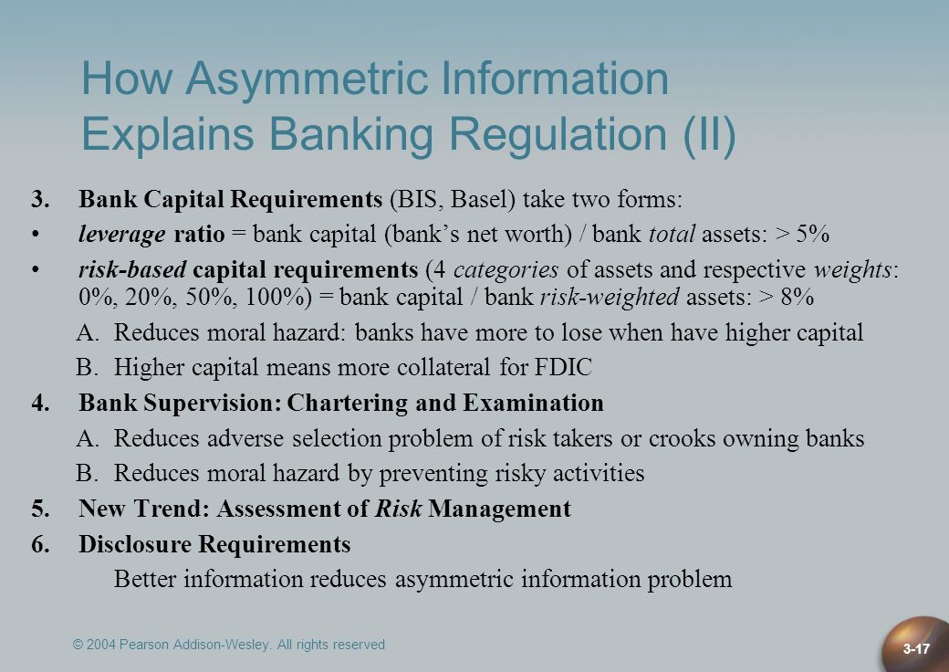 How Asymmetric Information Explains Banking Regulation (II)