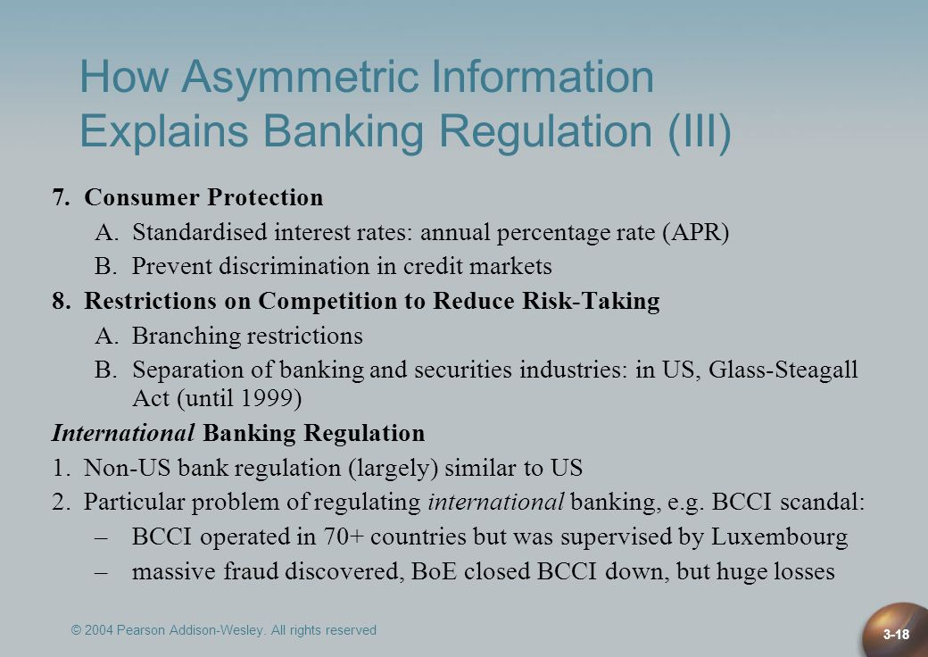 How Asymmetric Information Explains Banking Regulation (III)