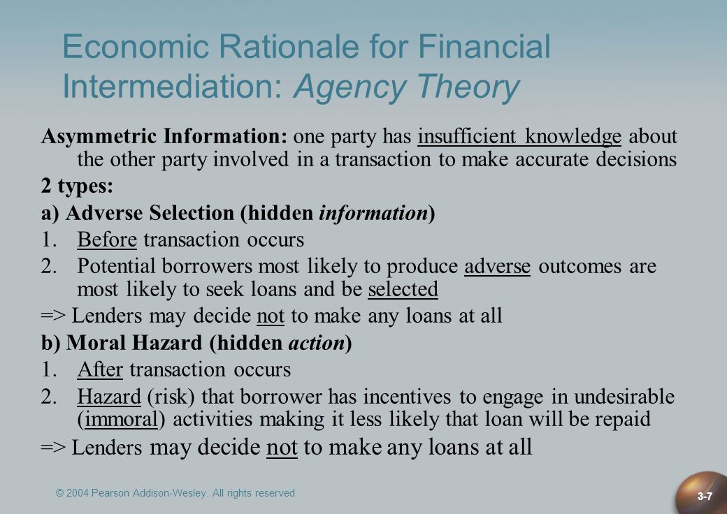 Economic Rationale for Financial Intermediation: Agency Theory