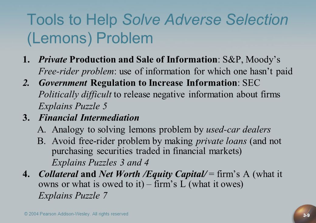 Tools to Help Solve Adverse Selection (Lemons) Problem