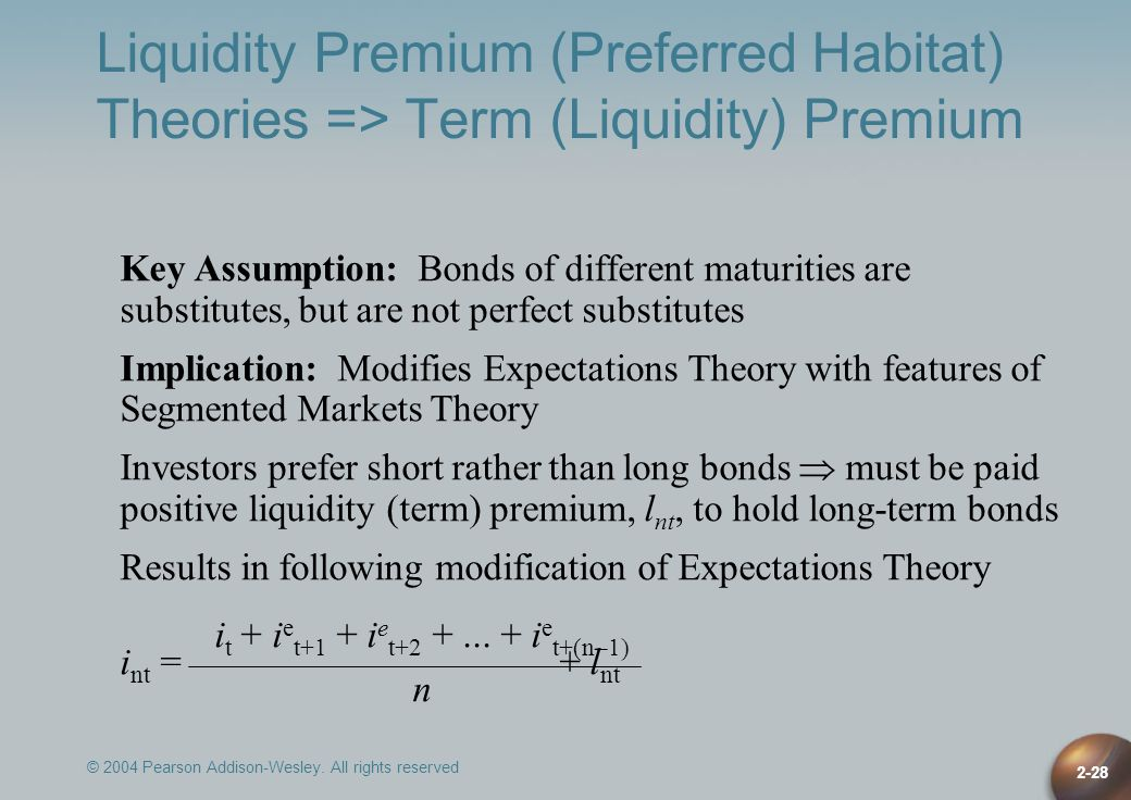 Liquidity Premium (Preferred Habitat) Theories => Term (Liquidity) Premium