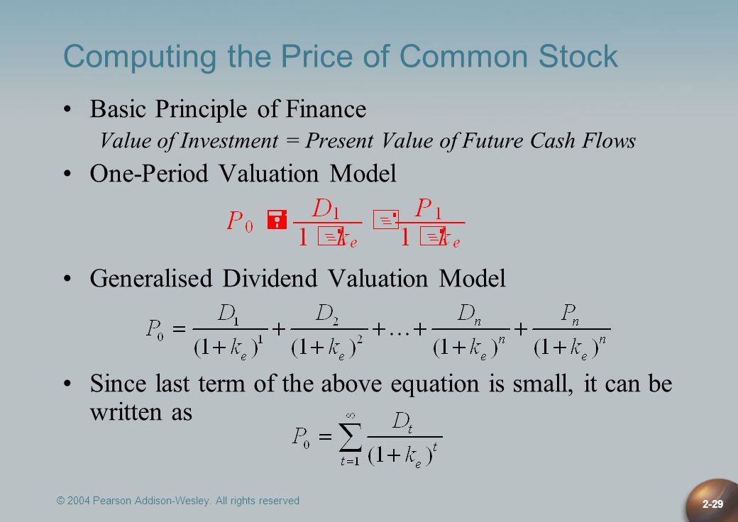 Computing the Price of Common Stock