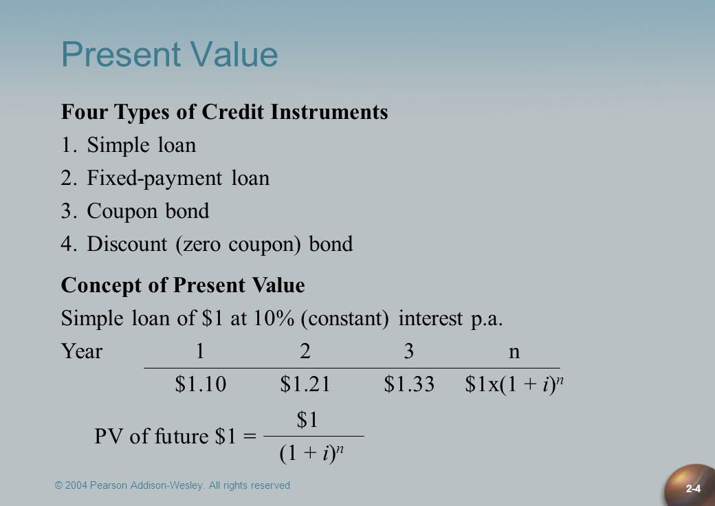 Present Value Four Types of Credit Instruments 1. Simple loan