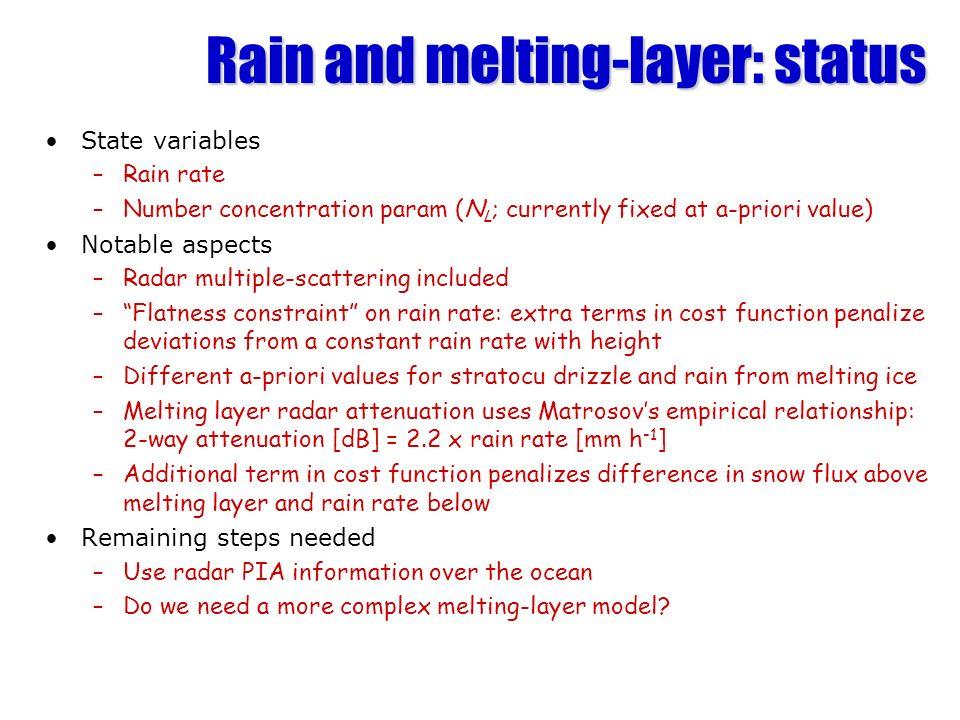 Rain and melting-layer: status