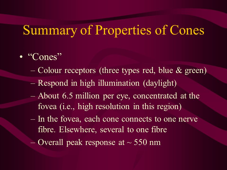 Summary of Properties of Cones