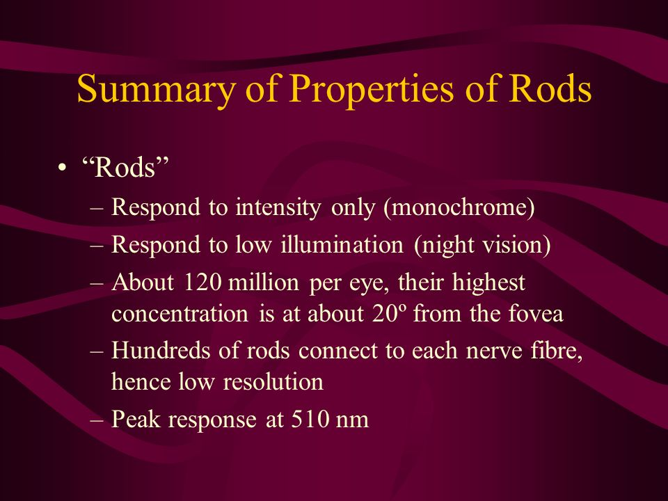 Summary of Properties of Rods