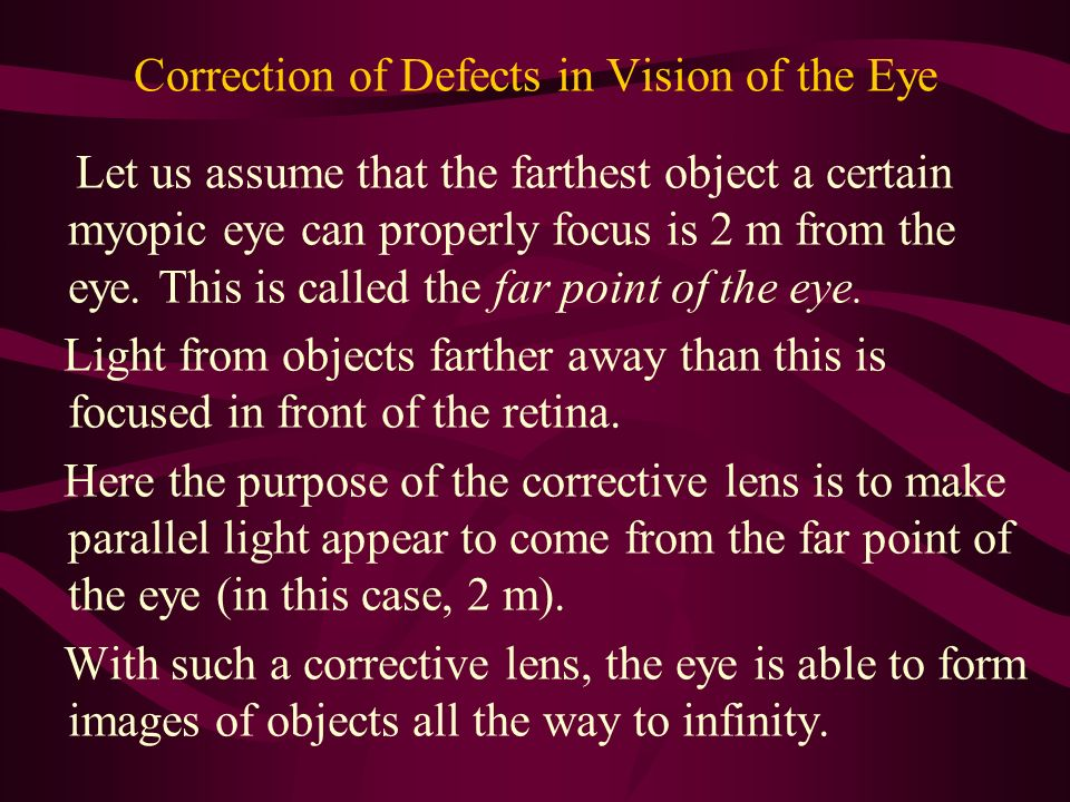 Correction of Defects in Vision of the Eye