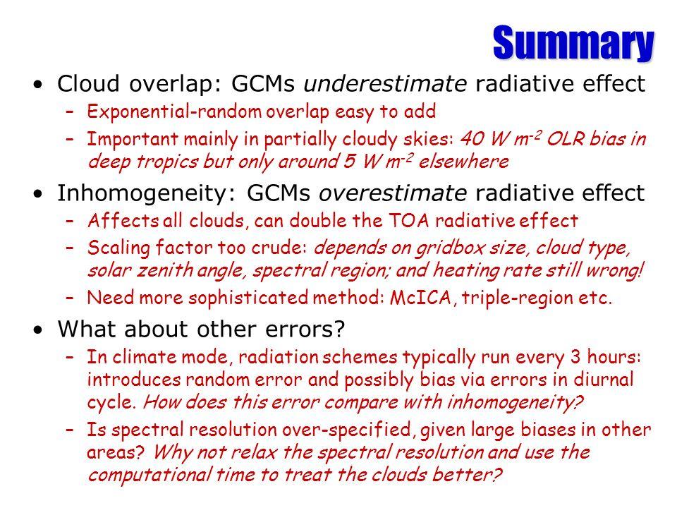 Summary Cloud overlap: GCMs underestimate radiative effect
