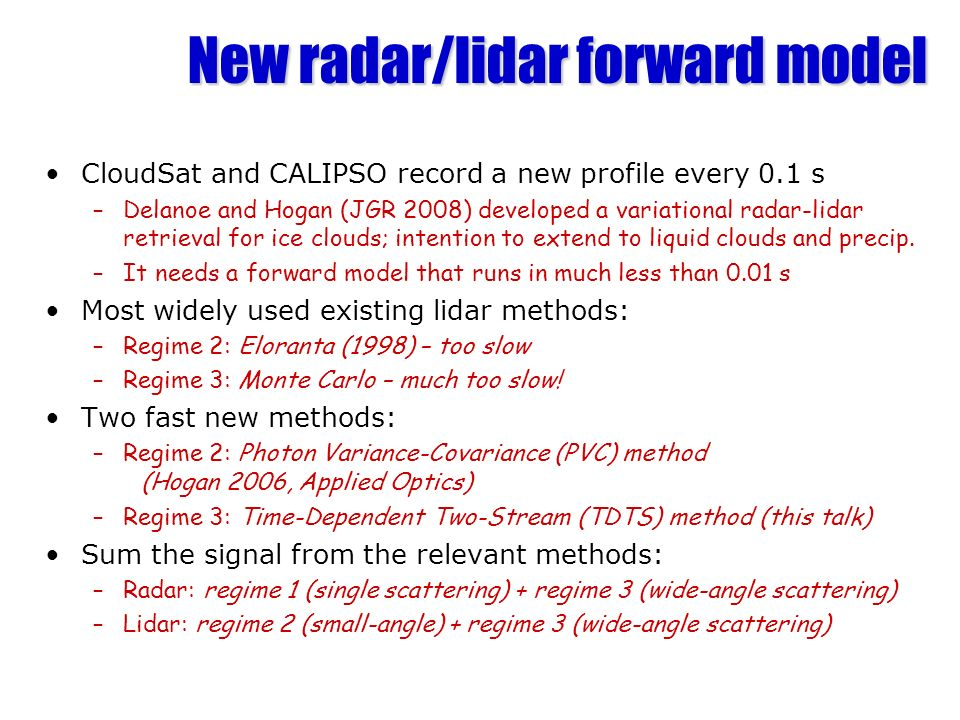 New radar/lidar forward model