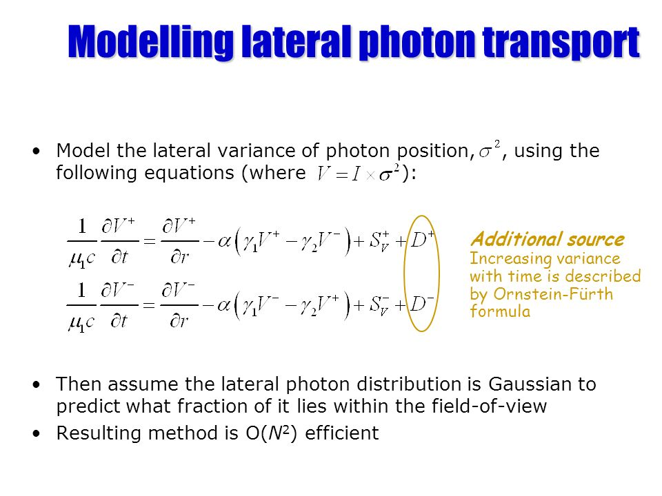 Modelling lateral photon transport