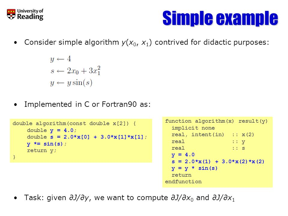 Simple example Consider simple algorithm y(x0, x1) contrived for didactic purposes: Implemented in C or Fortran90 as: