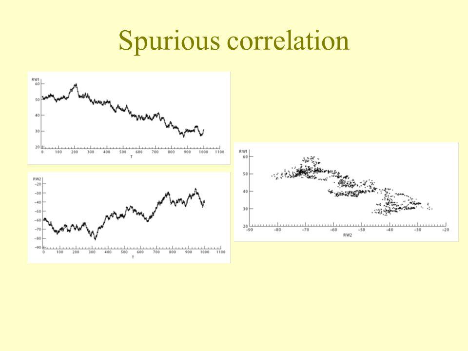 Spurious correlation Two random walks we observed earlier.
