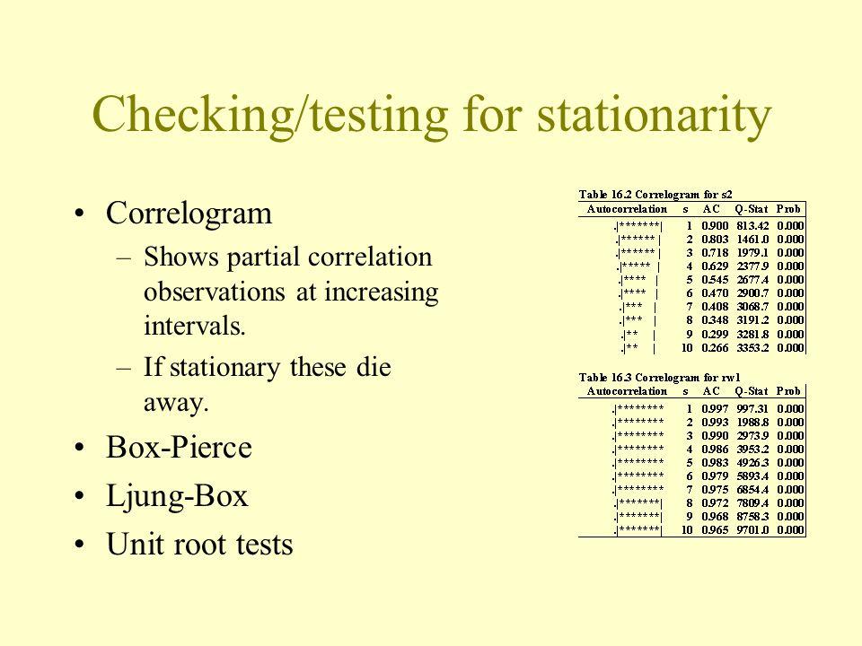 Checking/testing for stationarity