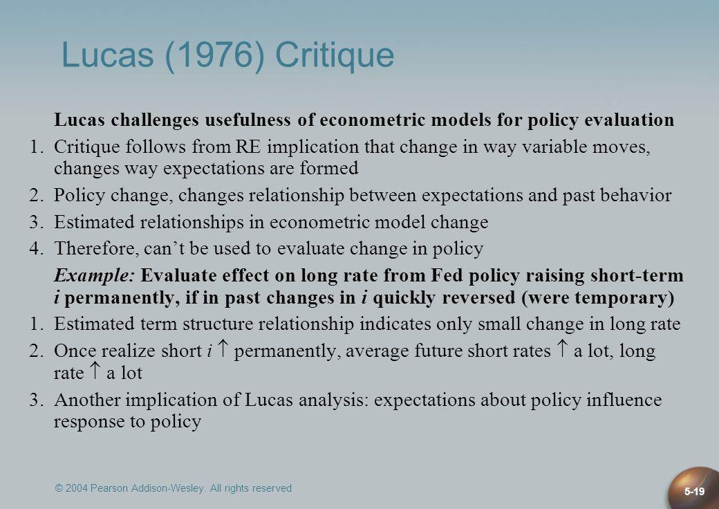 Lucas (1976) Critique Lucas challenges usefulness of econometric models for policy evaluation.
