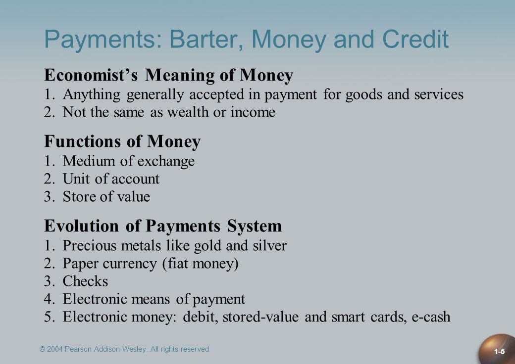 Payments: Barter, Money and Credit