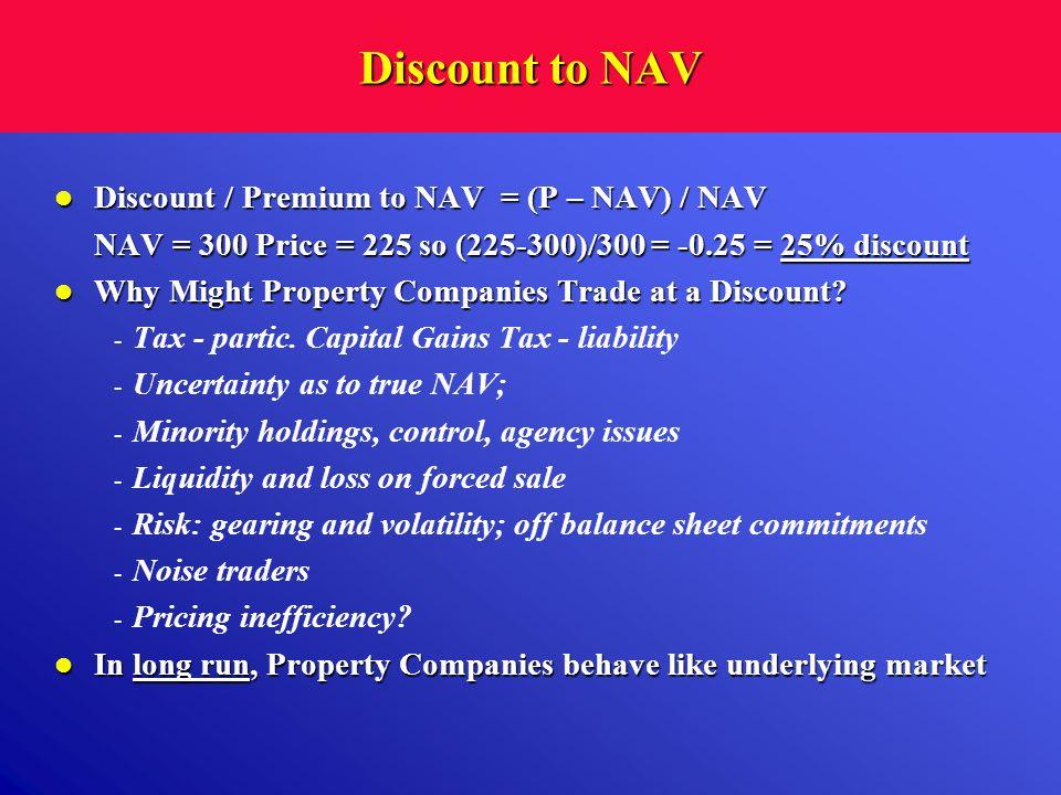 Discount to NAV Discount / Premium to NAV = (P – NAV) / NAV