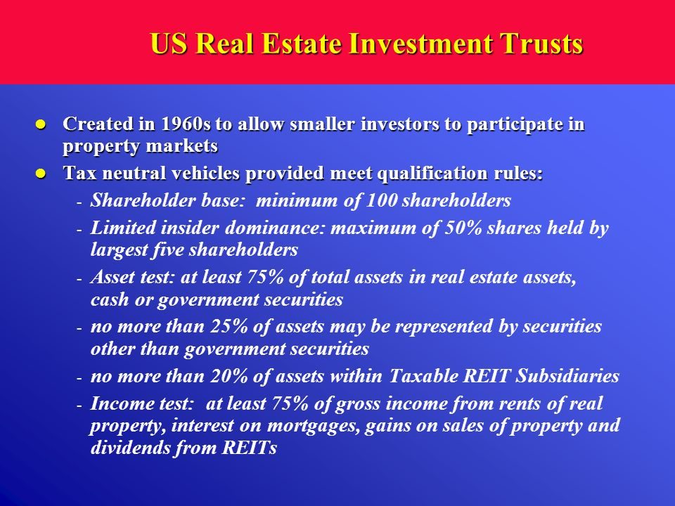 US Real Estate Investment Trusts