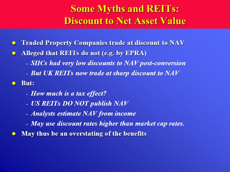 Some Myths and REITs: Discount to Net Asset Value