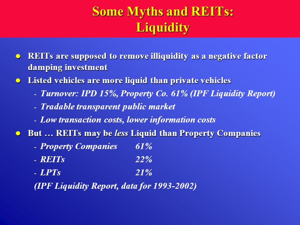 Some Myths and REITs: Liquidity