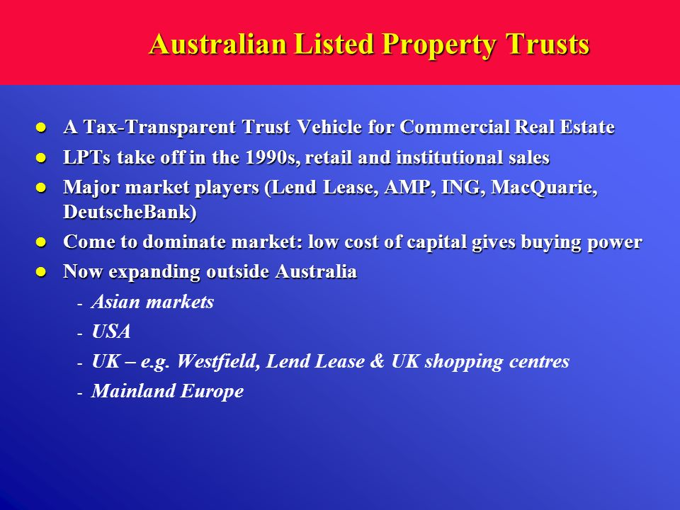 Australian Listed Property Trusts