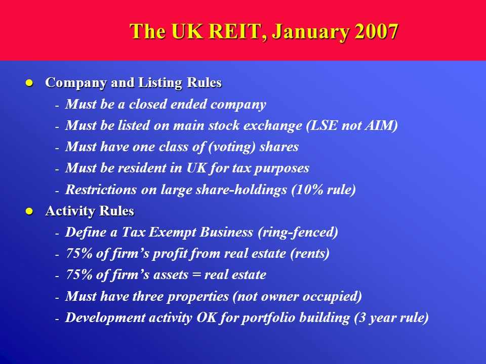 The UK REIT, January 2007 Company and Listing Rules