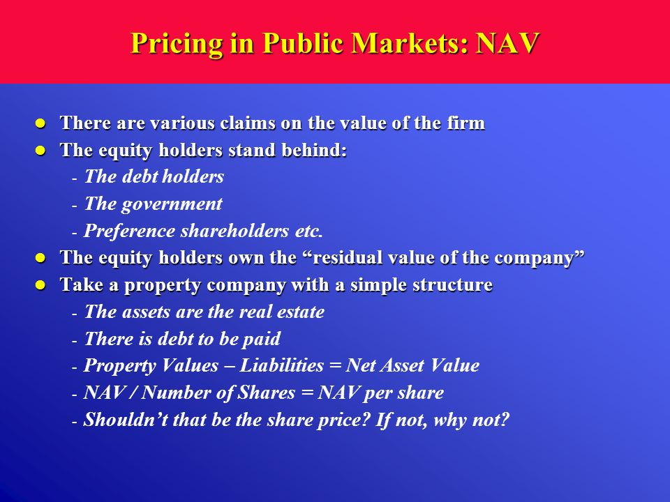 Pricing in Public Markets: NAV