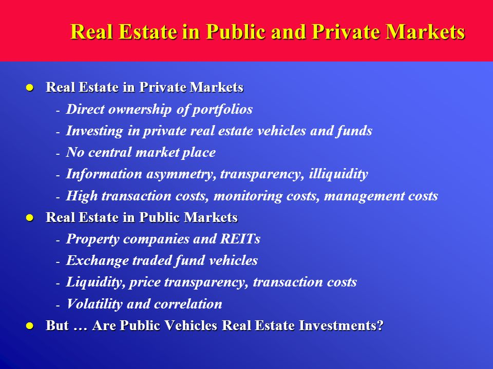 Real Estate in Public and Private Markets