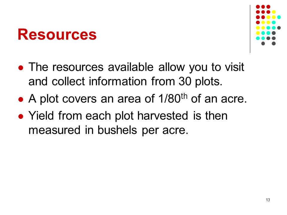 Resources The resources available allow you to visit and collect information from 30 plots. A plot covers an area of 1/80th of an acre.