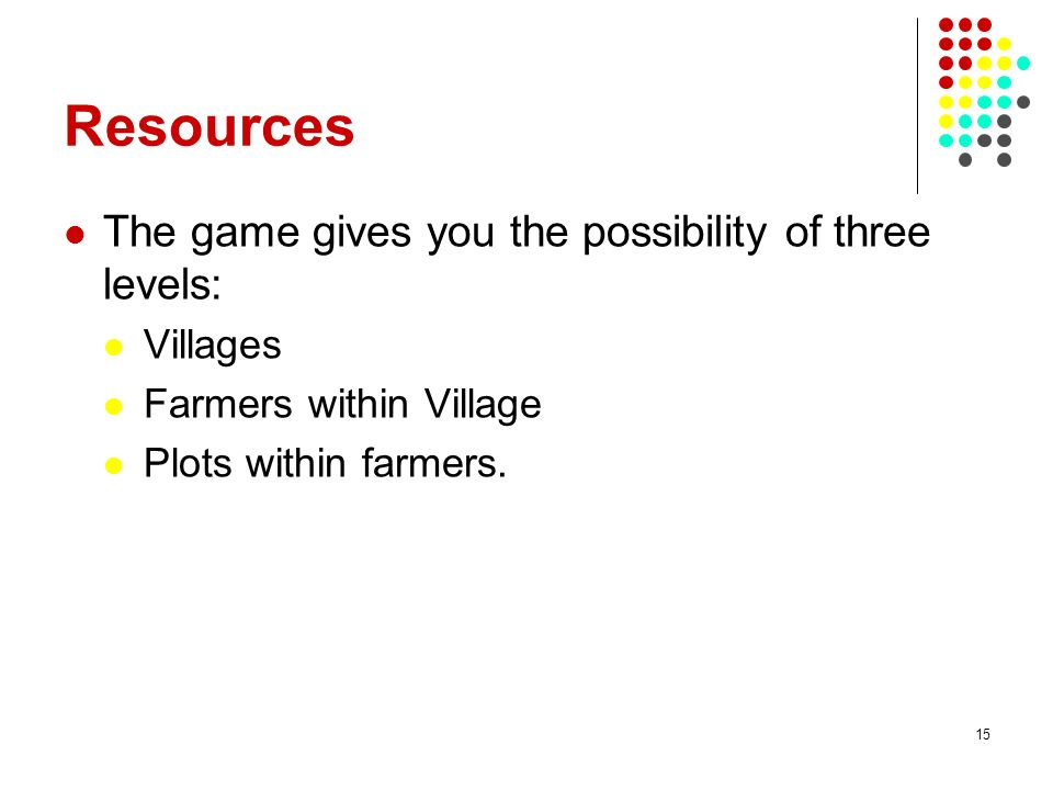 Resources The game gives you the possibility of three levels: Villages