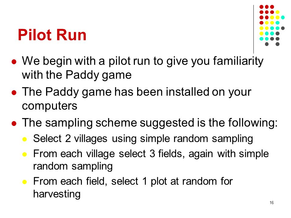 Pilot Run We begin with a pilot run to give you familiarity with the Paddy game. The Paddy game has been installed on your computers.