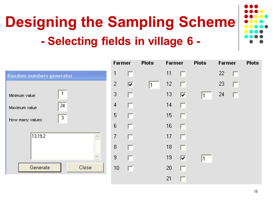 Designing the Sampling Scheme - Selecting fields in village 6 -