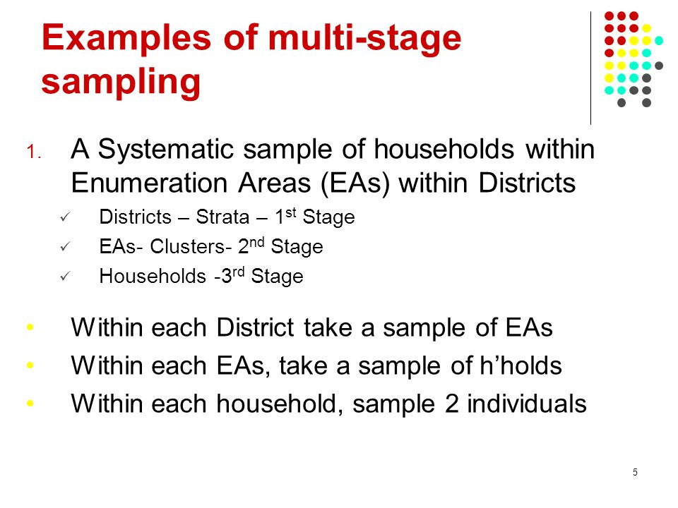 Examples of multi-stage sampling
