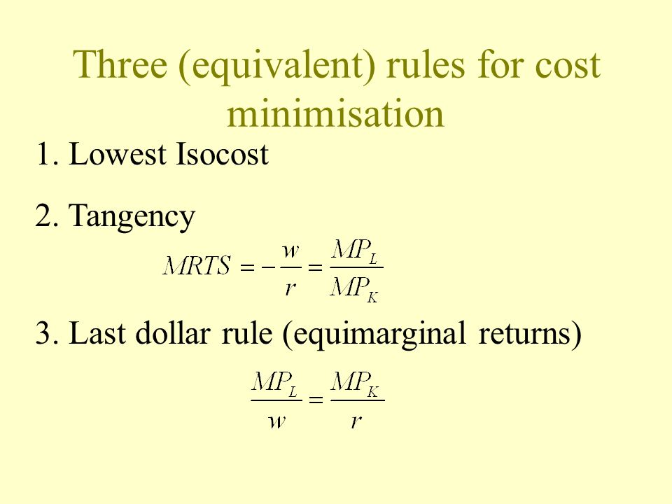 Three (equivalent) rules for cost minimisation