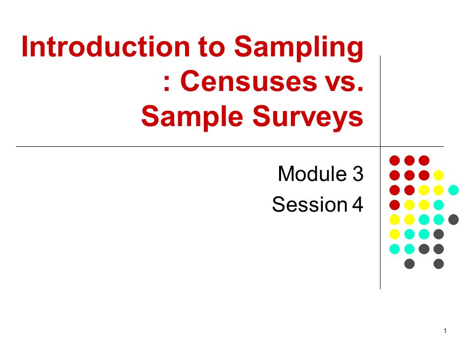 Introduction to Sampling : Censuses vs. Sample Surveys