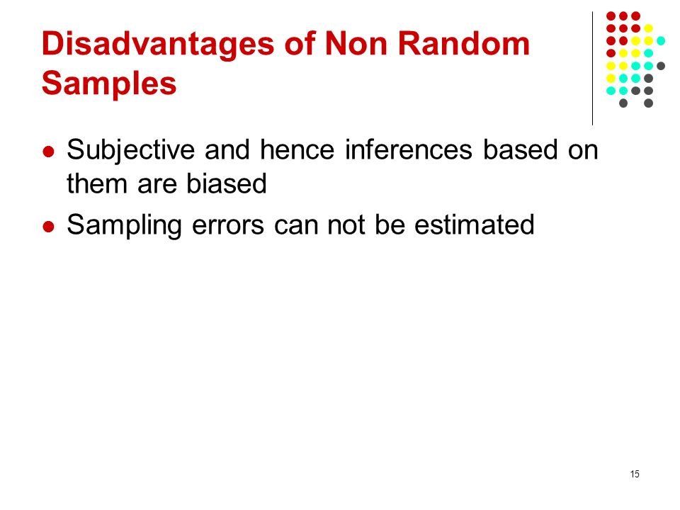 Disadvantages of Non Random Samples