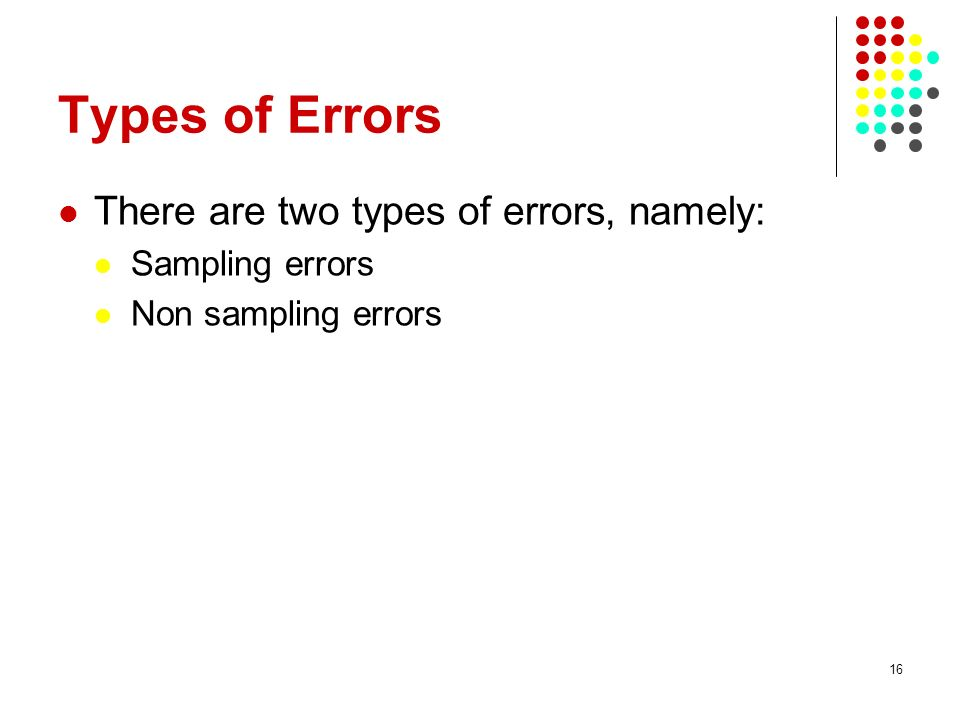Types of Errors There are two types of errors, namely: Sampling errors