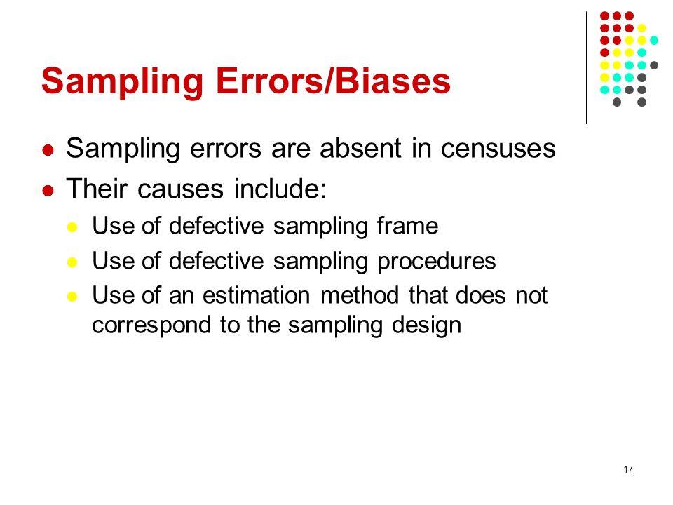 Sampling Errors/Biases