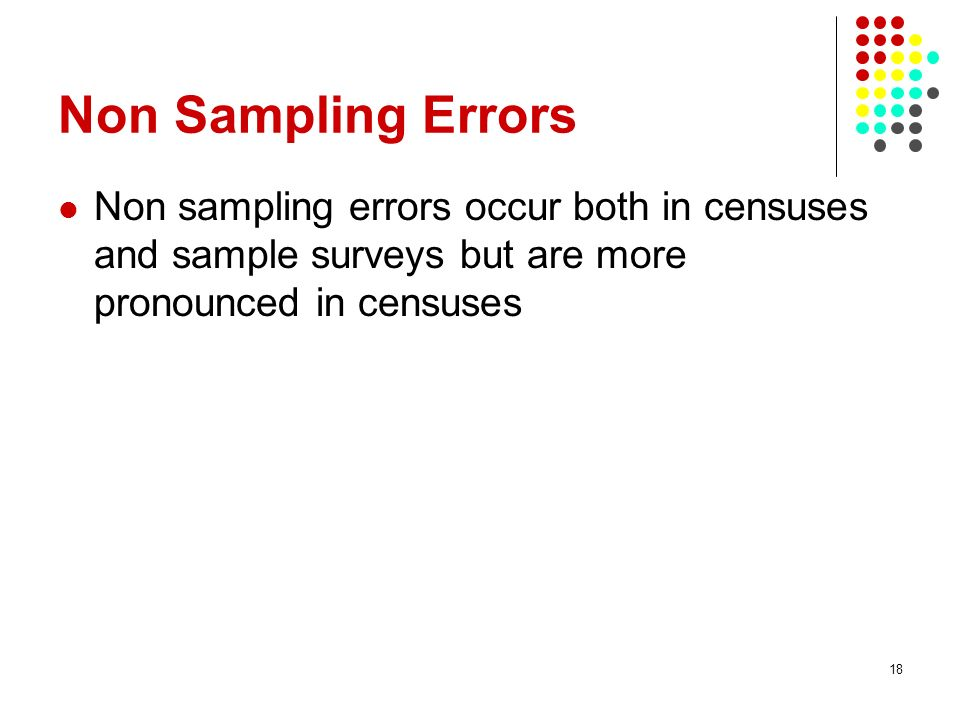 Non Sampling Errors Non sampling errors occur both in censuses and sample surveys but are more pronounced in censuses.