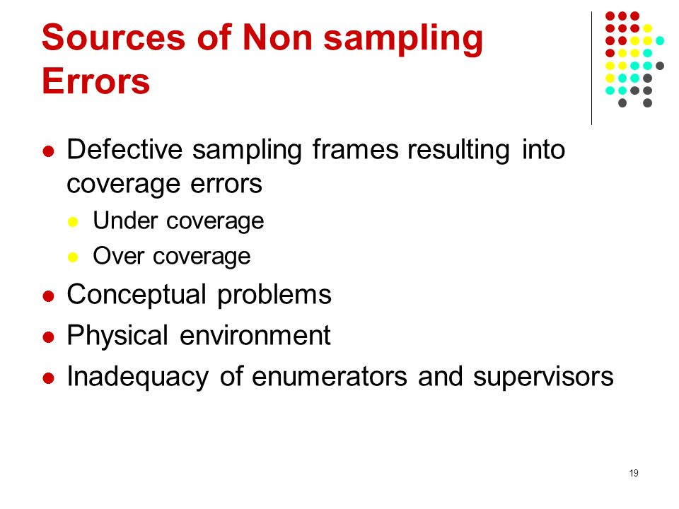 Sources of Non sampling Errors